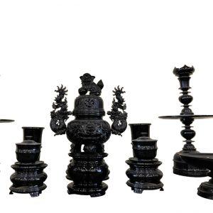 Bộ lư hương đá 9 món cao cấp
