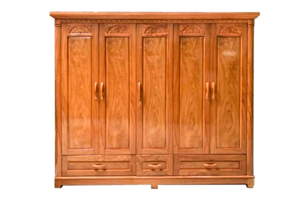 tủ áo gỗ đinh hương 5 cánh